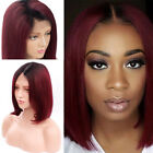 1B/99J Ombre Human Hair Wig For Black Women Brazilian Virgin Lace Front Bob Wigs