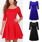 Womens Square Neck Half Sleeve Solid Cocktail Party Flared A Line Swing Dresses