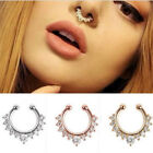Hot Fake Nose Ring Nose Clip On Non Piercing Crystal Septum Faux Jewelry