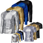 Men Long Sleeve S-3XL V Neck Shirt Casual Slim Fit Leather Tee Muscle T-shirt
