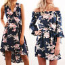 Boho Womens Floral Print Off Shoulder Holiday Beach Ladies Casual Paty Dress NEW