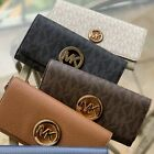 NWT MICHAEL KORS PVC OR LEATHER FULTON FLAP CARRYALL WALLET VARIOUS COLORS MK