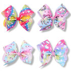 FASHION BABY GIRLS CARTOON UNICORN HAIRPIN 8INCH RIBBON BOWKNOT HAIR CLIPS ACTUR