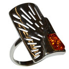 4.15g Authentic Baltic Amber 925 Sterling Silver Ring Jewelry N-A7344A
