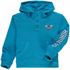 Charlotte Hornets Majestic Youth Button Up Henley  Sweatshirts - Teal