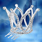 Korean 3D Round Crown Tiara Hair Comb Clip Rhinestones Crystal Bridal Accessory