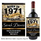 Personalised Born in 1971 Year Happy 47th Birthday Wine Champagne Bottle Label