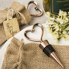 Heart Design Wine Bottle Stopper with Hessian Bag - NEW - Favours and Gifts