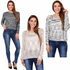 Womens Sequin Jumper Ladies Loose Baggy Shiny Thin Knit Sweater Pullover Top