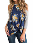Womens Cold Shoulder 3/4 Sleeve Knot Hem Floral Printed Casual Shirt Blouse Tops