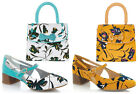 NEW Ruby Shoo Iris Low Heel Pumps UK3-9 & Matching Santiago Bag Aqua / Ochre