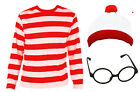 WHERES FIND ME RED WHITE STRIPE COSTUME WORLD BOOK DAY CHILDS WALLY FANCY DRESS