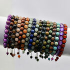 Handmade Men's Women's 8mm Natural Gemstones Macrame Beads Bracelet Adjustable
