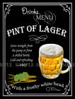 PINT OF LAGER  RETRO PUB,BAR,CLUB,  HOME BAR,METAL SIGN :3 SIZES TO CHOOSE FROM