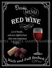 RED WINE   RETRO PUB,BAR,CLUB  ,METAL SIGN :3 SIZES TO CHOOSE FROM