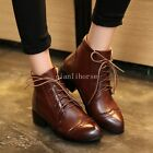 Roman Ankle Boots Womens Pointy Toe Lace Up Block Mid Heel Wing Tip Casual Shoes