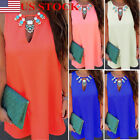 Fashion Women's Summer Sleeveless Casual Hollow Out Vest Dress Blouse Tops Plus