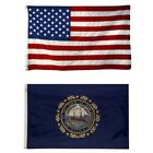 New Hampshire State and American Flag Combo, Made In USA, All Sizes, You Pick