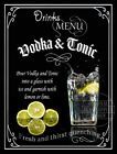 VODKA & TONIC  RETRO PUB,CAFE MAN SHED HOME BAR,METAL SIGN :3 TO CHOOSE FROM