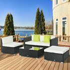 5 Pieces Rattan Sofa Set Wicker Sectional Furniture Cushion Garden Outdoor