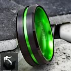 Внешний вид - 8mm Men's Black Tungsten Thin Green Line Band Ring-Engraving Avail.