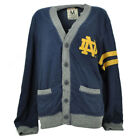 NCAA Notre Dame Fighting Irish Cardigan Sweater Navy Blue Button Down Striped