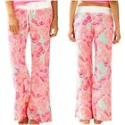 NWT LILLY PULITZER BEACH PANT POOLSIDE BLUE LOVE BIRDS Parrot sz Large L