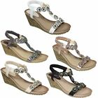 JLH780 Cally Ladies Flower Floral T-Strap Comfortable Elasticated Wedge Sandals