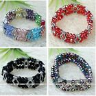 Multirows Faceted Glass Bead Bracelet Bangle Royal Elastic Party Banquet Jewelry