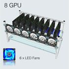 DIY Aluminum Frame Case For 8 GPU Mining Crypto Currency Rigs Miner with 6 fans