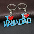 Father Mother's Day Gift I Love Mama Dad Keychain Charm Keyring Alloy Blue