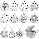Hollow Aromatherapy Essential Oil Diffuser Magnetic Locket Pendant Necklace Gift
