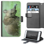 Baby Elephant Phone Case, PU Leather Side Flip Phone Cover For Apple/Samsung