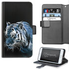 HAIRYWORM ELECTRIC BLUE AND WHITE TIGER LEATHER WALLET PHONE CASE, FLIP CASE