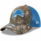 Detroit Lions New Era Trucker 39THIRTY Flex Hat - Realtree Camo/Blue