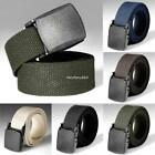 Mens Buckle Long Canvas Nylon Waist Web Belt Outdoor Tactical Strap Waistband NI