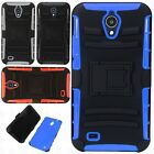 For LG Tribute Dynasty HYBRID Layered HARD Case Rubber Phone Cover +Screen Guard