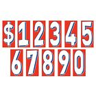 8 1/2 Inch Red White & Blue Numbers Windshield Stickers Car Dealer You Pick