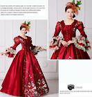 Woman Floral Red Fold Ball Gown Theare Cosplay Zipper Lace Plus Slv Dress юбка