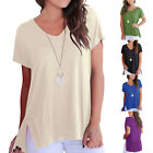 Plus Size Women's Casual Loose Solid Tee Tops Short Sleeve V-neck T-shirt Sexy