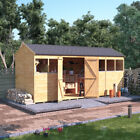 Tongue & Groove Wooden Workshop Garden Shed Double Door Reverse Apex Roof