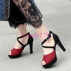 Strappy Ladies Mixed Color Peep Toe Leisure Ankle Strap Pumps High Heels Shoes