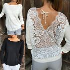 Fashion Womens Ladies T-Shirt Back Lace Pullover Long Sleeve Loose Blouse Tops
