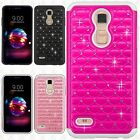 For LG K10 2018 HYBRID IMPACT Dazzling Diamond Case Phone Cover Accessory