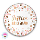 Personalised SPOT Rose Gold Foil POCKET MIRROR 58mm Bridesmaid/Hen/Favour/Gift