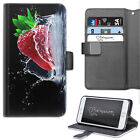 STRAWBERRY SPLASH PHONE CASE, LEATHER WALLET FLIP CASE, COVER FOR SAMSUNG, APPLE