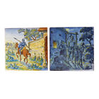 TWO VINTAGE CONTINENTAL MAIOLICA DON QUIXOTE TILES 20TH C.