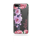 PERSONALISED INITIALS FLOWER PHONE CASE CLEAR HARD COVER FOR HTC U11,U11+,530
