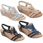 Ladies Lace Diamante Floral Sling Back Padded Insole Wedge Sandals Shoes