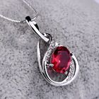 Stunning Charms Women Oval Red Garnet Crystal Gold Filled Pendant Chain Necklace